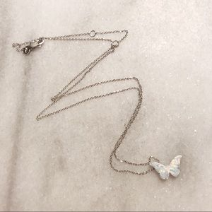 Jewelry - 14 Karat Solid Gold White Opal Butterfly Necklace